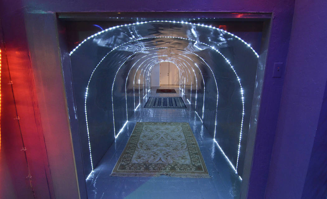 A tunnel leading to a nightclub is shown in the basement of a 23,000-square-foot home previously owned by Mexican singer-songwriter Juan Gabriel is shown at 2801 Pinto Lane in Las Vegas on Sunday, ...