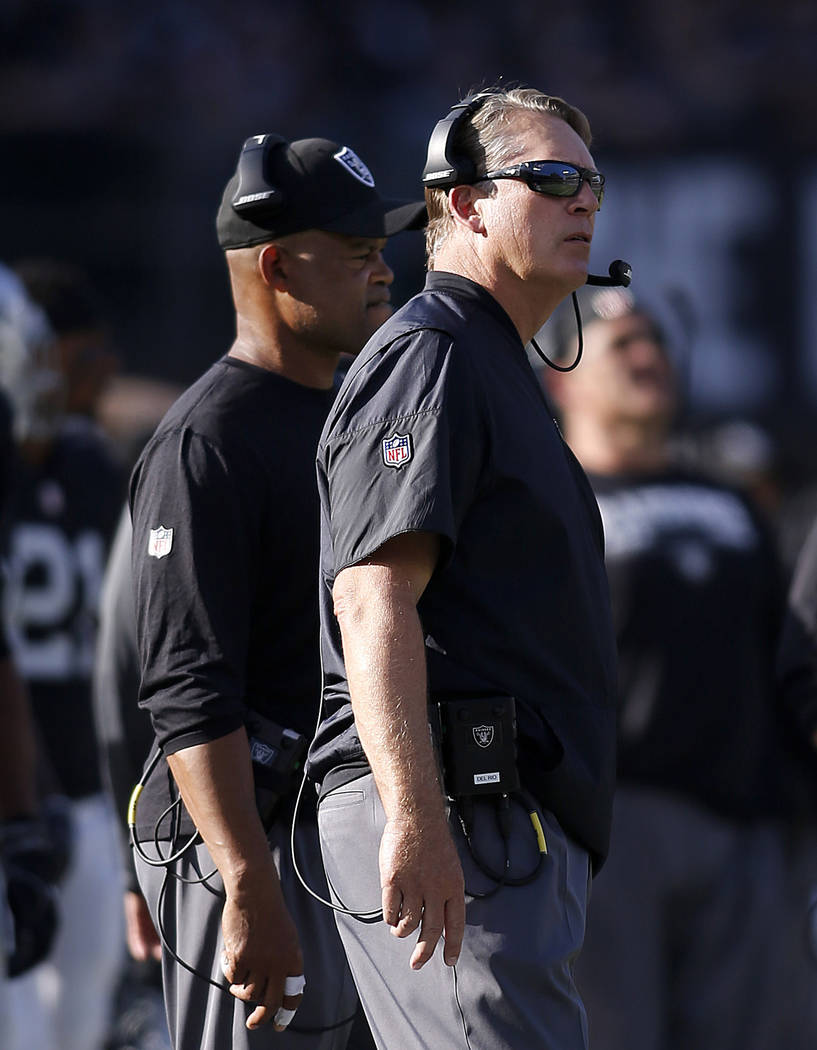 Oakland Raiders head coach Jack Del Rio, right, and defensive coordinator Ken Norton Jr. watch from the sideline during the second half of an NFL football game against the Los Angeles Chargers in  ...