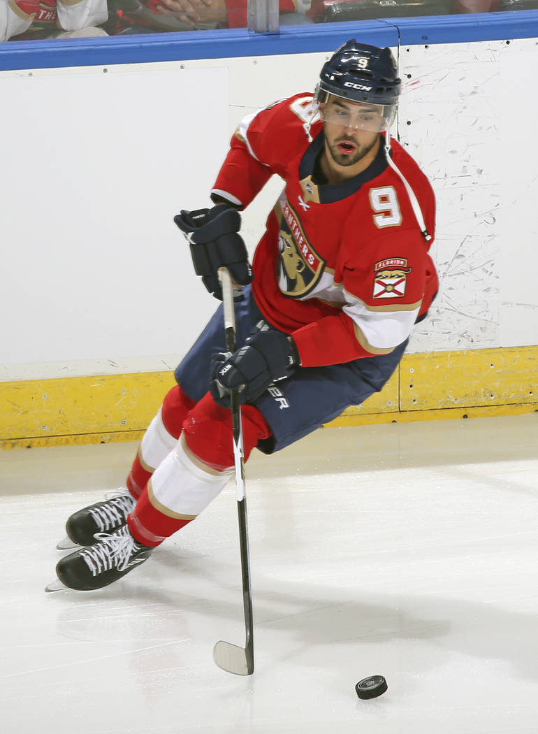Florida Panthers forward Brandon Pirri (9) skates prior to an NHL preseason hockey game against the Tampa Bay Lightning, Thursday, Sept. 28, 2017, in Sunrise, Fla. The Panthers defeated the Lightn ...