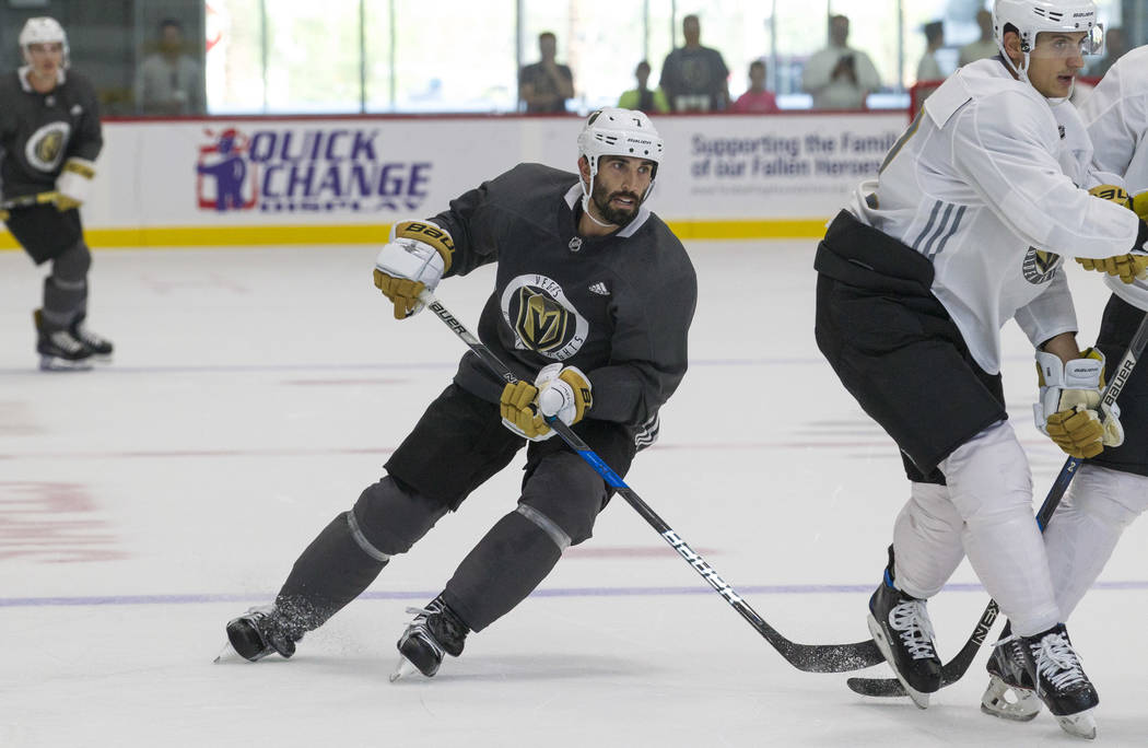 Vegas Golden Knights left defenseman Jason Garrison (7) in a scrimmage game during the NHL team's practice at the City National Arena in Las Vegas, Saturday, Sept. 16, 2017. Richard Brian Las Vega ...