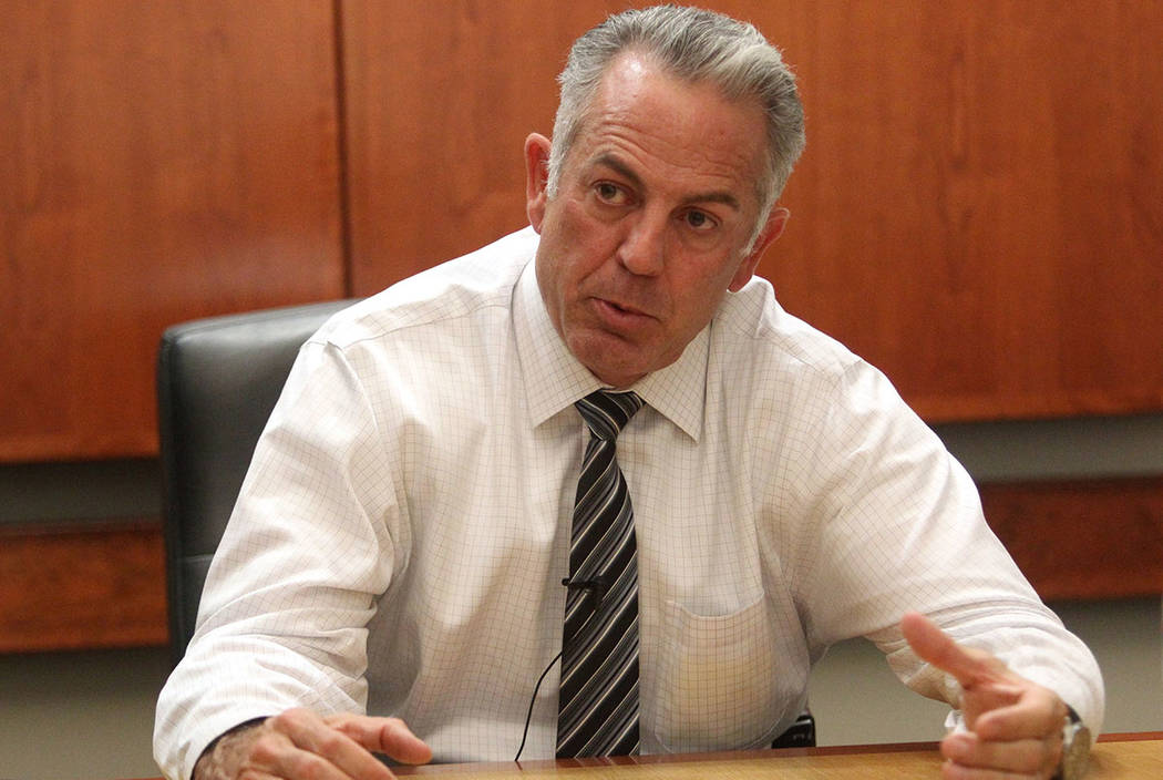 Clark County Sheriff Joe Lombardo discusses the Route 91 Harvest festival mass shooting during an exclusive interview with the Las Vegas Review-Journal Tuesday, Oct. 10, 2017. (K.M. Cannon/Las Veg ...