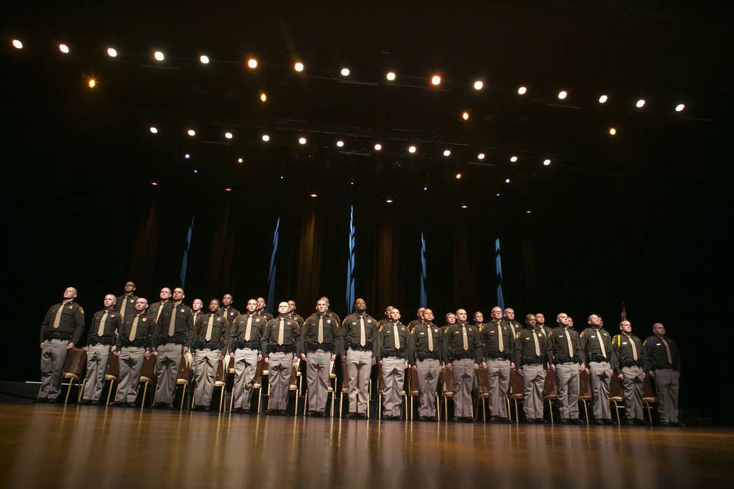 The Las Vegas Metropolitan Police Department graduating class 05-2017 stands during their graduation ceremony at The Orleans in Las Vegas, Wednesday, Nov. 22, 2017. (Bridget Bennett/Las Vegas Revi ...