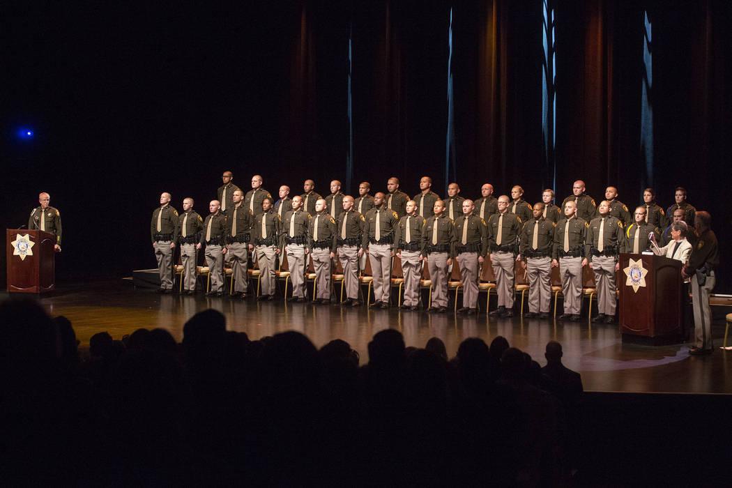 The Las Vegas Metropolitan Police Department graduating class 05-2017 stand during their graduation ceremony at The Orleans in Las Vegas, Wednesday, Nov. 22, 2017. (Bridget Bennett/Las Vegas Revie ...