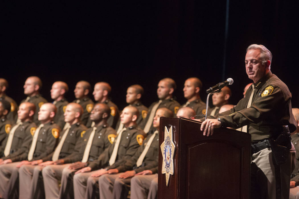 Sheriff Joe Lombardo address the audience during a Las Vegas Metropolitan Police Department graduation ceremony at The Orleans in Las Vegas, Wednesday, Nov. 22, 2017. (Bridget Bennett/Las Vegas Re ...