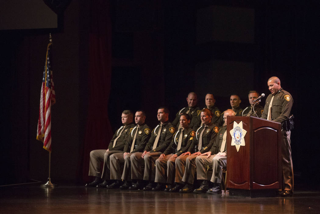 New graduate and speaker for his class Brandon Alvarado address the audience during a Las Vegas Metropolitan Police Department graduation ceremony at The Orleans in Las Vegas, Wednesday, Nov. 22,  ...