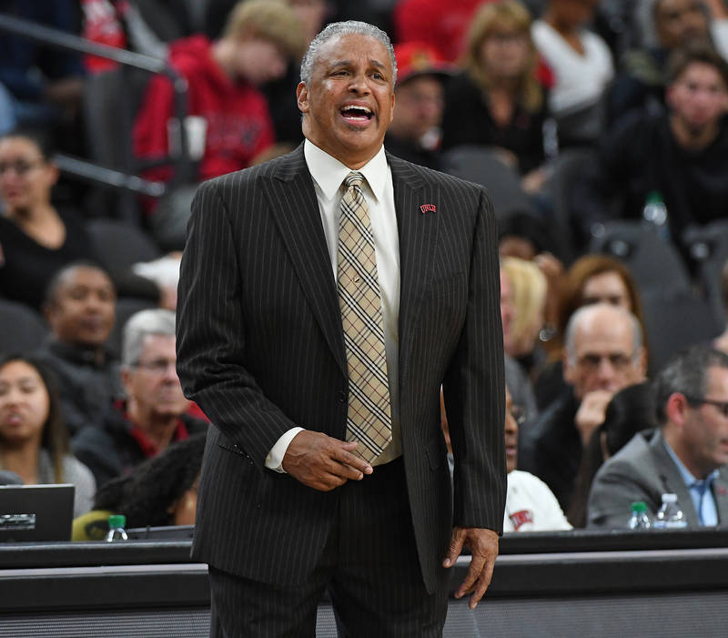 Nov 22, 2017; Las Vegas, NV, USA; UNLV Runnin' Rebels head coach Marvin Menzies shouts during the first half of a game against the Utah Runnin' Utes at T-Mobile Arena. Mandatory Credit: Stephen R. ...