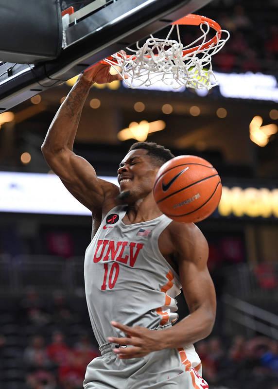 Nov 22, 2017; Las Vegas, NV, USA; UNLV Runnin' Rebels forward Shakur Juiston (10) dunks the ball during the first half of a game against the Utah Runnin' Utes at T-Mobile Arena. Mandatory Credit:  ...