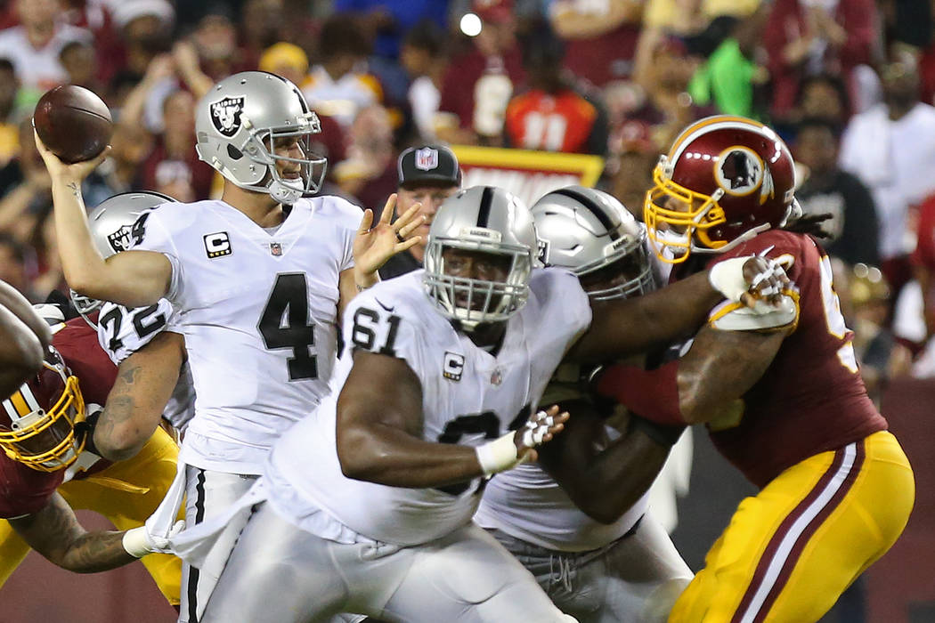 Sep 24, 2017; Landover, MD, USA; Oakland Raiders quarterback Derek Carr (4) passes the ball against the Washington Redskins in the second quarter at FedEx Field. (Geoff Burke-USA TODAY Sports)