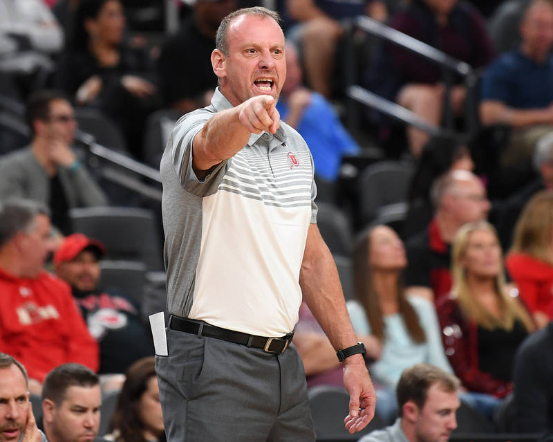 Nov 22, 2017; Las Vegas, NV, USA; Utah Runnin' Utes head coach Larry Krystkowiak is pictured during the first half of a game against the UNLV Runnin' Rebels at T-Mobile Arena. Mandatory Credit: St ...