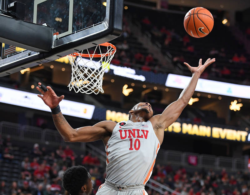 Nov 22, 2017; Las Vegas, NV, USA; UNLV Runnin' Rebels forward Shakur Juiston (10) reaches for an offensive rebound during the first half of a game against the Utah Runnin' Utes at T-Mobile Arena.  ...