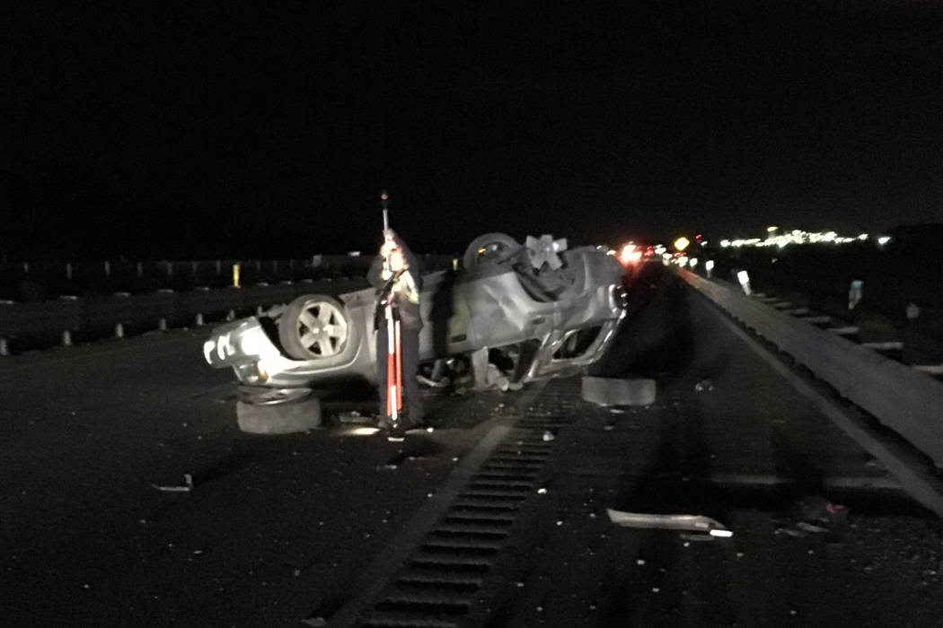 One person died Wednesday night in a one-vehicle accident on Interstate 15 north of Las Vegas. (Nevada Highway Patrol)