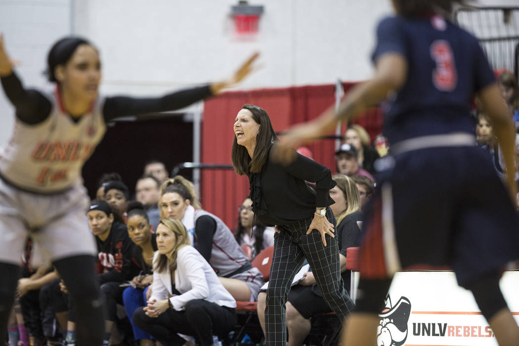 UNLV head coach Kathy Olivier calls out a defensive play during the Rebels home matchup with the Fresno State Bulldogs on Friday, March 3, 2017, at Cox Pavilion, in Las Vegas. (Benjamin Hager/Las  ...