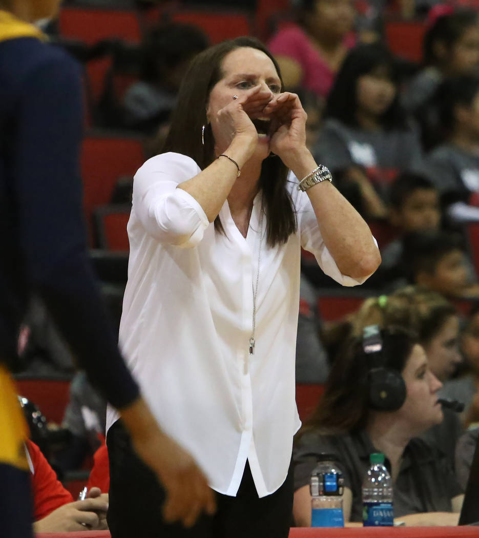 UNLV women's basketball head coach Kathy Olivier directs her players as they play against UC Irvine Anteaters at Cox Pavilion, Tuesday, Nov. 14, 2017, in Las Vegas. UNLV won 73-54. Bizuayehu Tesfa ...