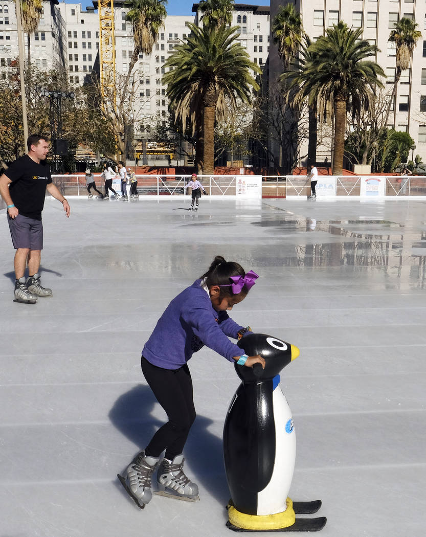 Ice skaters make their way around the Holiday Ice Rink in Pershing Square in downtown Los Angeles on Wednesday Nov. 22 2017