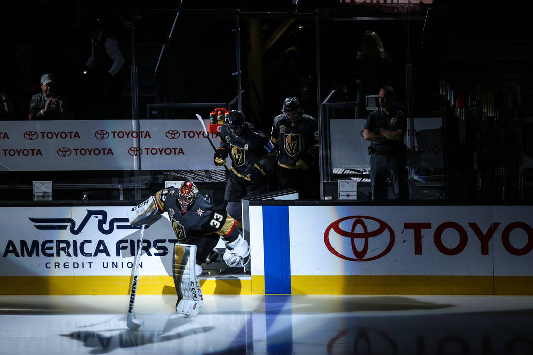 Vegas Golden Knights goalie Maxime Lagace (33) runs onto the rink at the start of a hockey game against the San Jose Sharks at T-Mobile Arena in Las Vegas, Friday, Nov. 24, 2017. Joel Angel Juarez ...