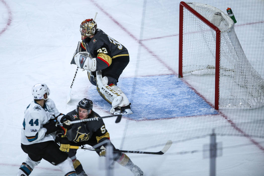 Vegas Golden Knights goalie Maxime Lagace (33) guards the goal during the first period of a hockey game against the San Jose Sharks at T-Mobile Arena in Las Vegas, Friday, Nov. 24, 2017. Joel Ange ...