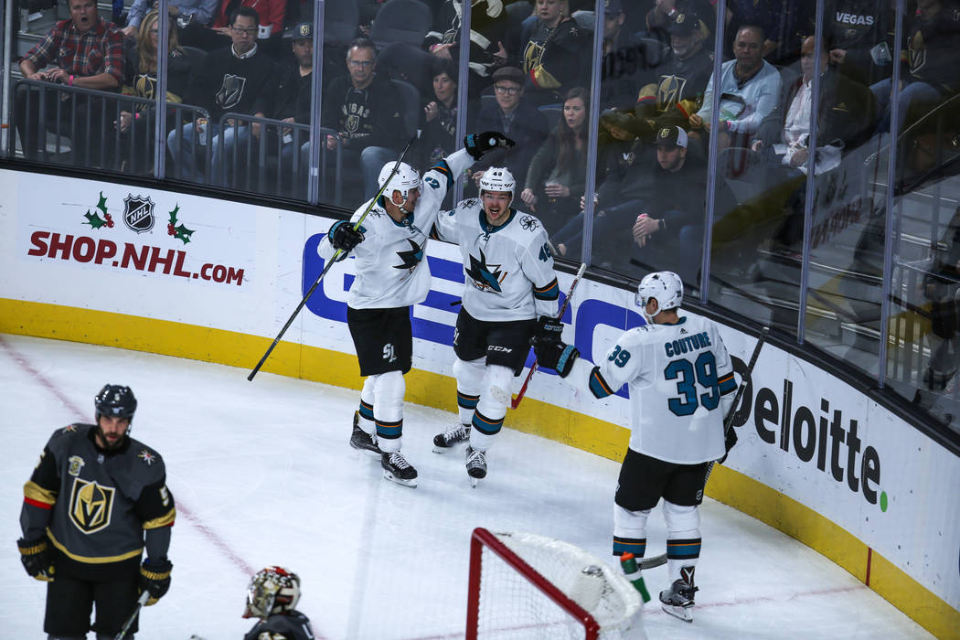 San Jose Sharks center Tomas Hertl (48), center, scores a point against the Vegas Golden Knights during the first period of a hockey game at T-Mobile Arena in Las Vegas, Friday, Nov. 24, 2017. Joe ...