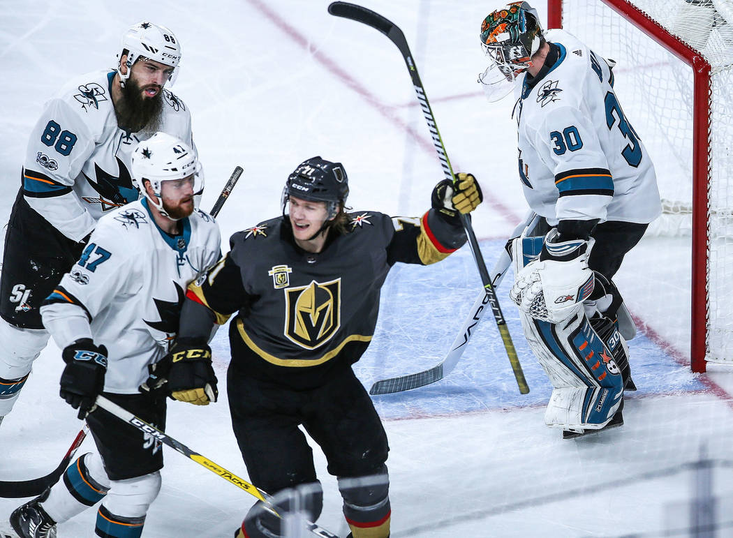 Vegas Golden Knights center William Karlsson (71), second from right, scores against the San Jose Sharks during the second period of a hockey game at T-Mobile Arena in Las Vegas, Friday, Nov. 24,  ...