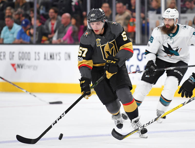 Nov 24, 2017; Las Vegas, NV, USA; Vegas Golden Knights left wing David Perron (57) skates with the puck during the first period of play against the San Jose Sharks at T-Mobile Arena. Mandatory Cre ...