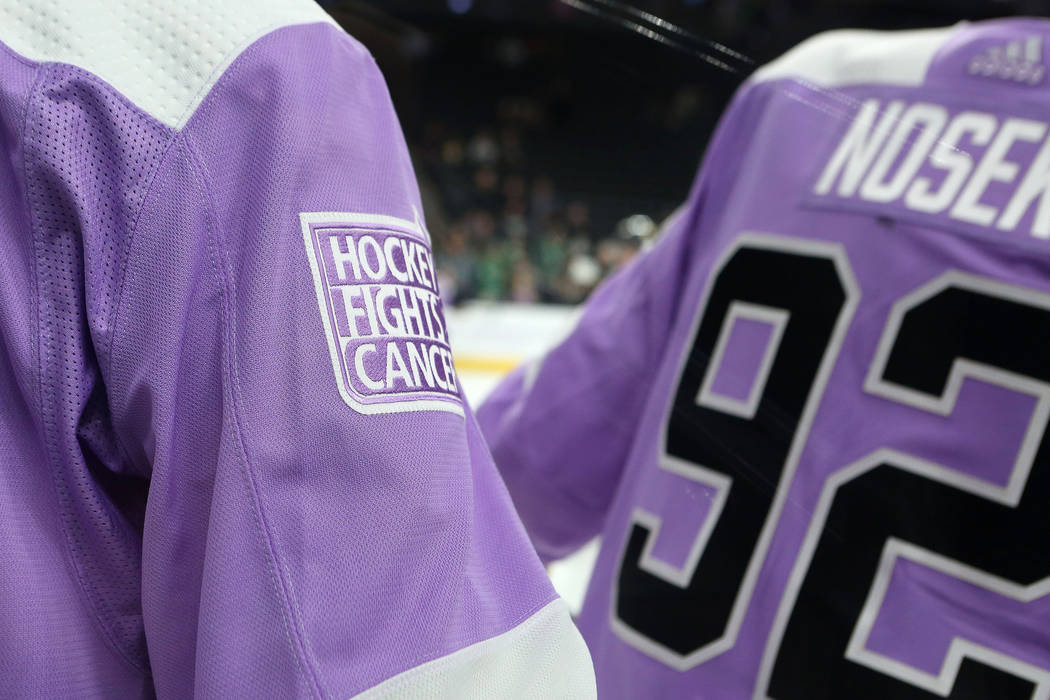 Vegas Golden Knights teammates sport lavender jerseys during warmups in  support of the Nevada Childhood Cancer d7a0dbb9c