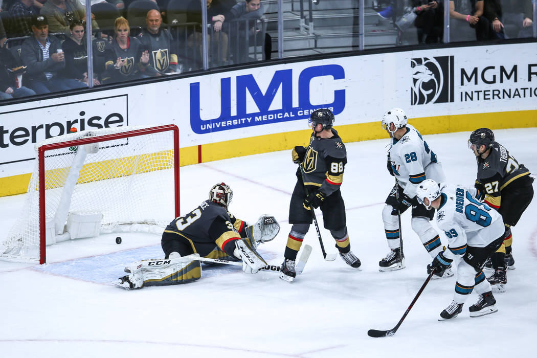 San Jose Sharks left wing Mikkel Boedker (89), second from right, scores against the Vegas Golden Knights during the second period of a hockey game at T-Mobile Arena in Las Vegas, Friday, Nov. 24, ...