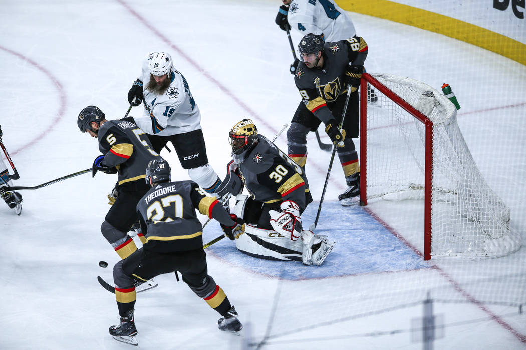San Jose Sharks goalie Aaron Dell (30) guards the goal against the San Jose Sharks during the third period of a hockey game at T-Mobile Arena in Las Vegas, Friday, Nov. 24, 2017. Vegas Golden Knig ...