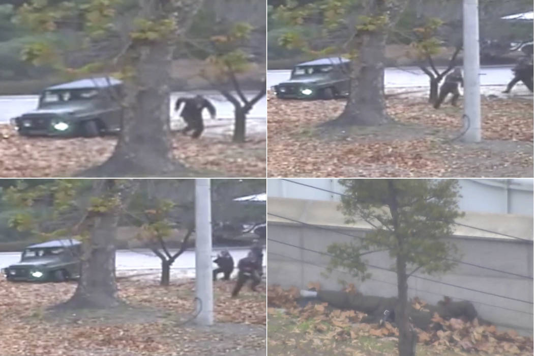This combination of images made from Nov. 13, 2017, surveillance video released by the United Nations Command shows a North Korean soldier running from a jeep and then shot by North Korean soldier ...