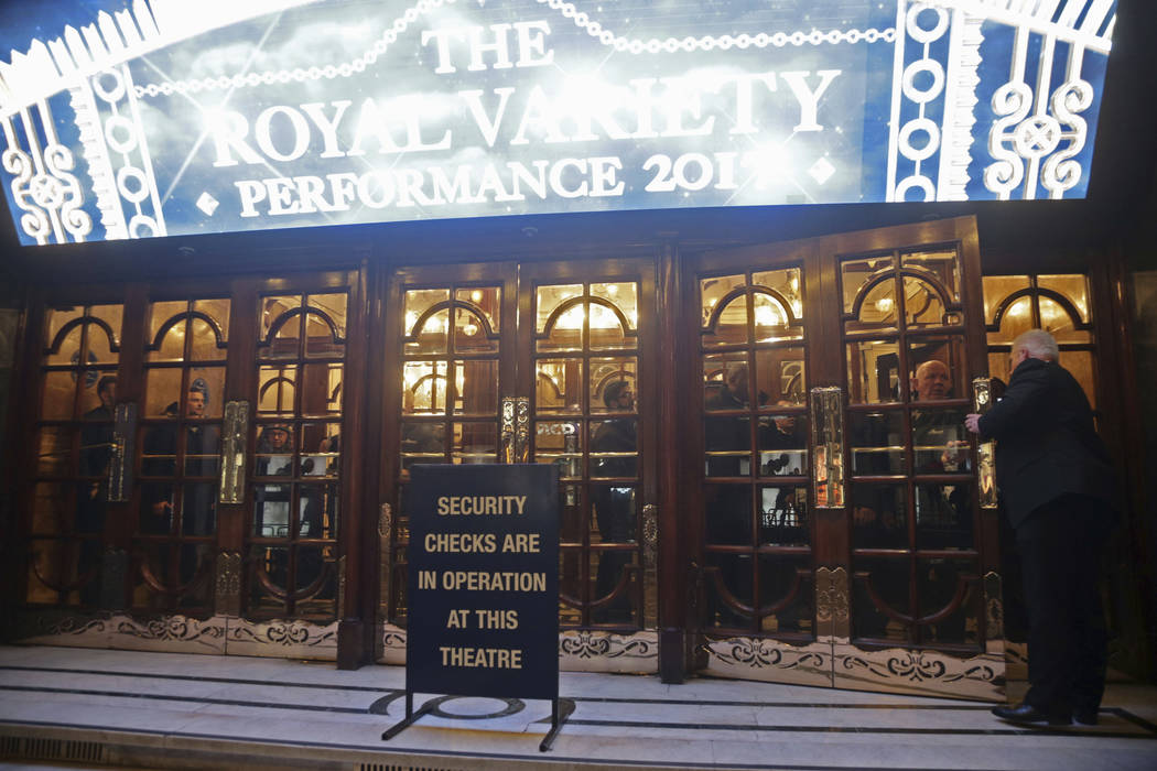 People in lockdown inside the London Palladium in the west end of London after Oxford Circus station was evacuated Friday Nov. 24, 2017. British police said Friday they were responding to reports  ...