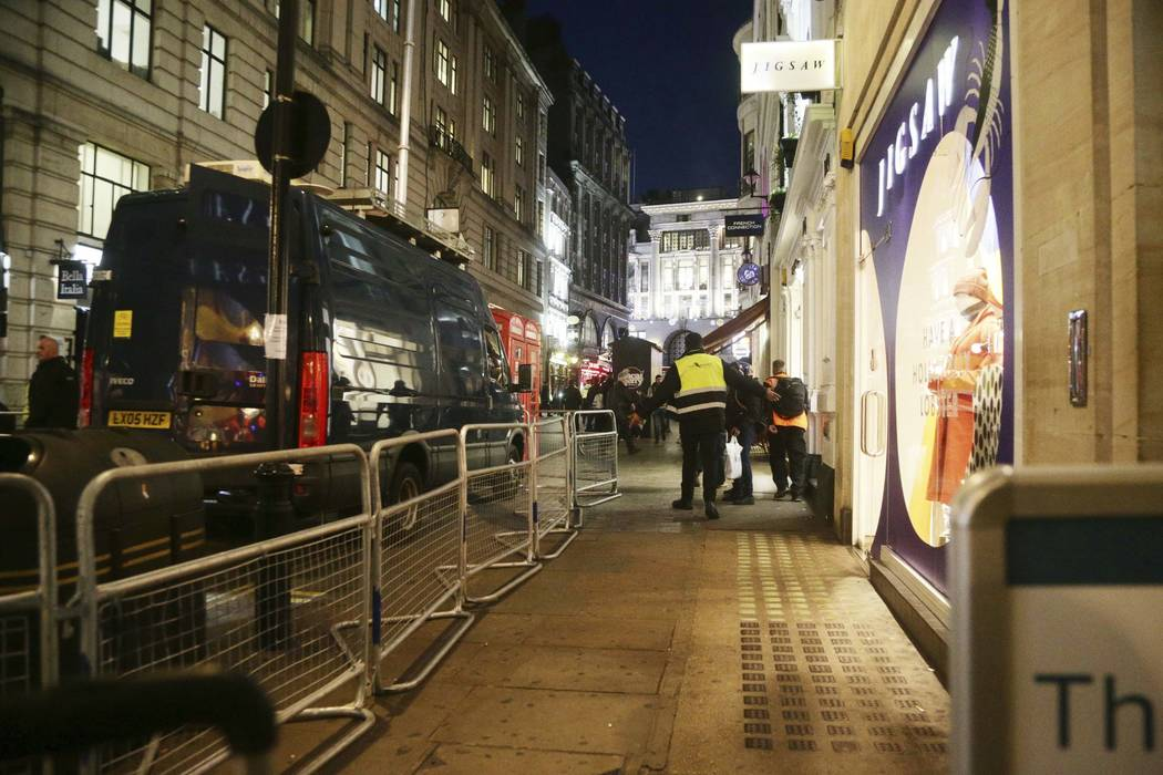 The scene outside the London Palladium in the west end of London after Oxford Circus station was evacuated Friday Nov. 24, 2017. British police said Friday they were responding to reports of an in ...