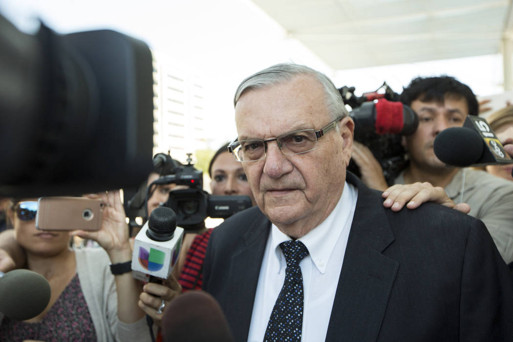 Former Sheriff Joe Arpaio leaves the federal courthouse in Phoenix, Ariz. on July 6, 2017.  A federal lawsuit set to go to trial Dec. 2017, marks the latest in a series of legal actions brought ag ...