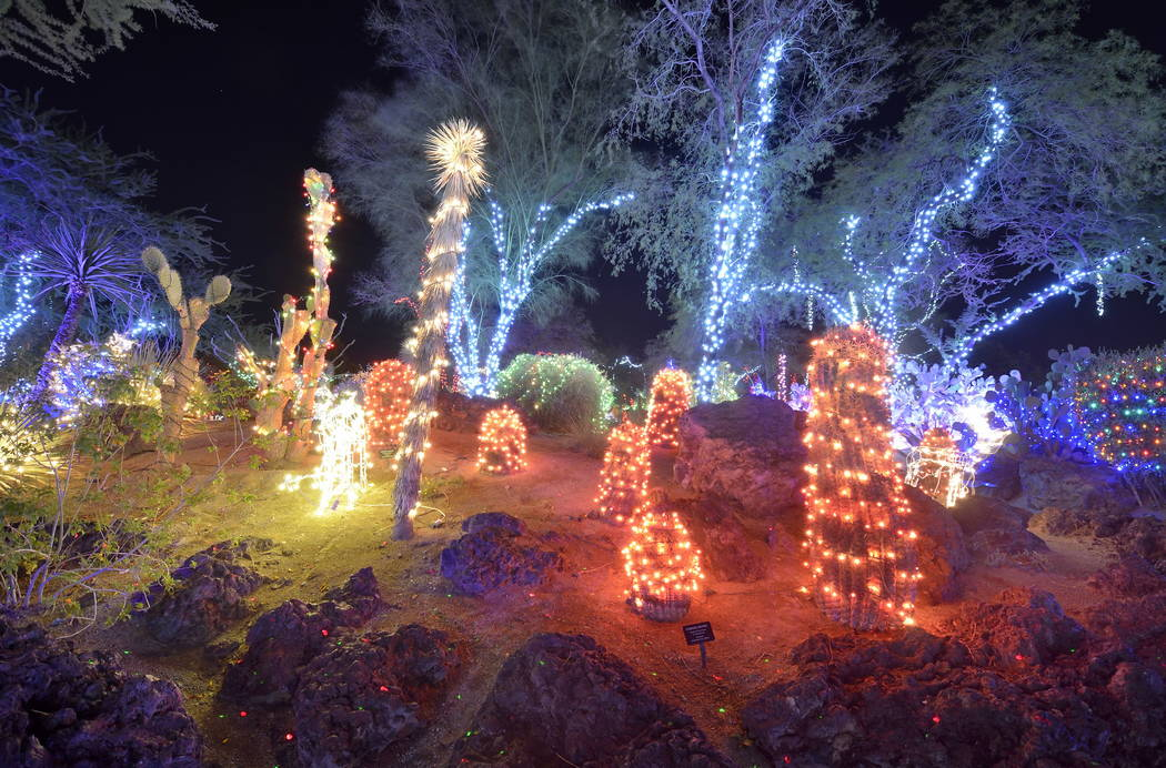 Part of the holiday lights display is shown at the Ethel M Cactus Garden at 2 Cactus Garden Drive in Henderson on Friday, Nov. 6, 2015. Bill Hughes/Las Vegas Review-Journal