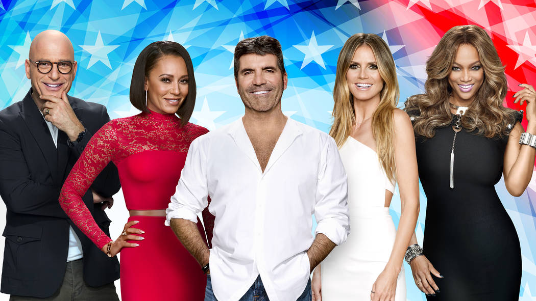 """""""America's Got Talent"""" judges (from left to right) Howie Mandel, Mel B, creator and judge Simon Cowell, Heidi Klum and host Tyra Banks. Young ventriloquist Darci Lynne wowed this group in a viral  ..."""