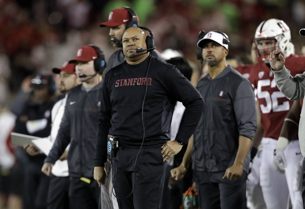Stanford head coach David Shaw during the first half of an NCAA college football game against California Saturday, Nov. 18, 2017, in Stanford, Calif. (AP Photo/Marcio Jose Sanchez)