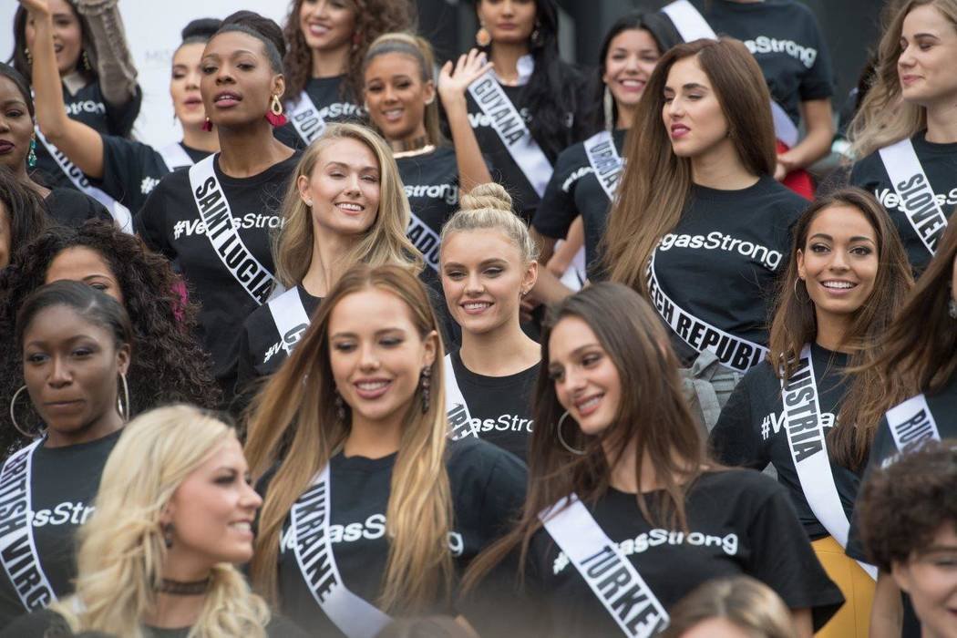 Miss Universe pageant contestants showed their support for Las Vegas. (Tom Donoghue)