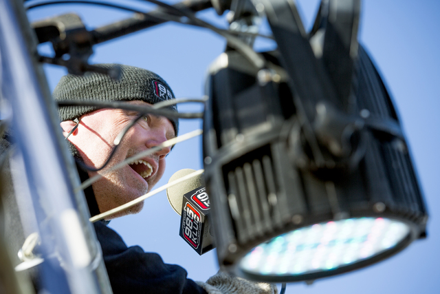 Chet Buchanan, host at 98.5 KLUC, broadcasts live during the 18th Annual Chet Buchanan & The Morning Zoo Toy Drive on Thursday, Dec. 08, 2016. He camps out for 12 days from a 30 foot scaffoldi ...