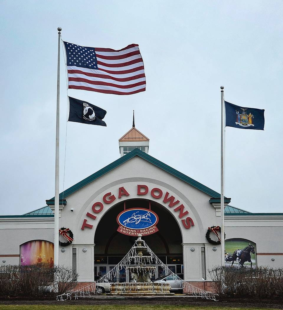 This photo from Dec. 2, 2016 shows the entrance of Tioga Downs Casino in Nichols, N.Y. Revenues from three new upstate New York casinos have come in far slower than projected, meaning less money s ...