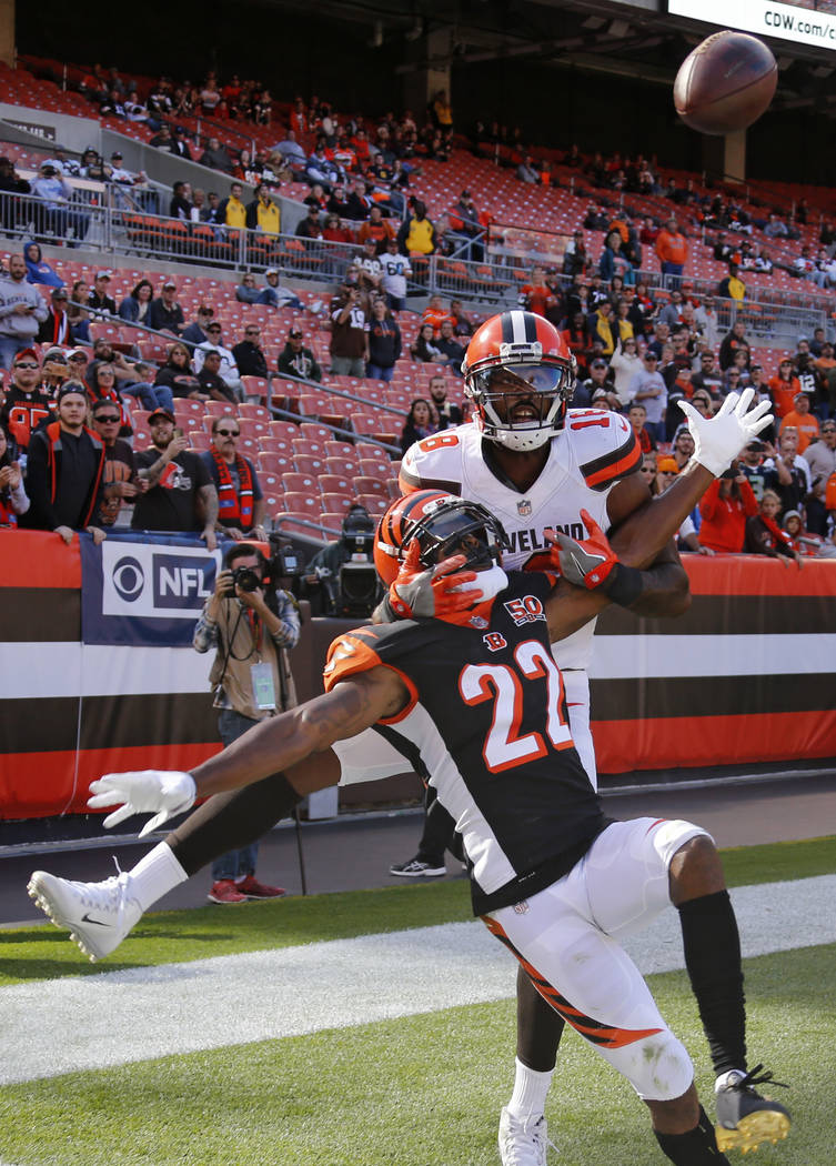 Cincinnati Bengals cornerback William Jackson (22) breaks top a pass intended for Cleveland Browns wide receiver Kenny Britt (18) in the second half of an NFL football game, Sunday, Oct. 1, 2017,  ...