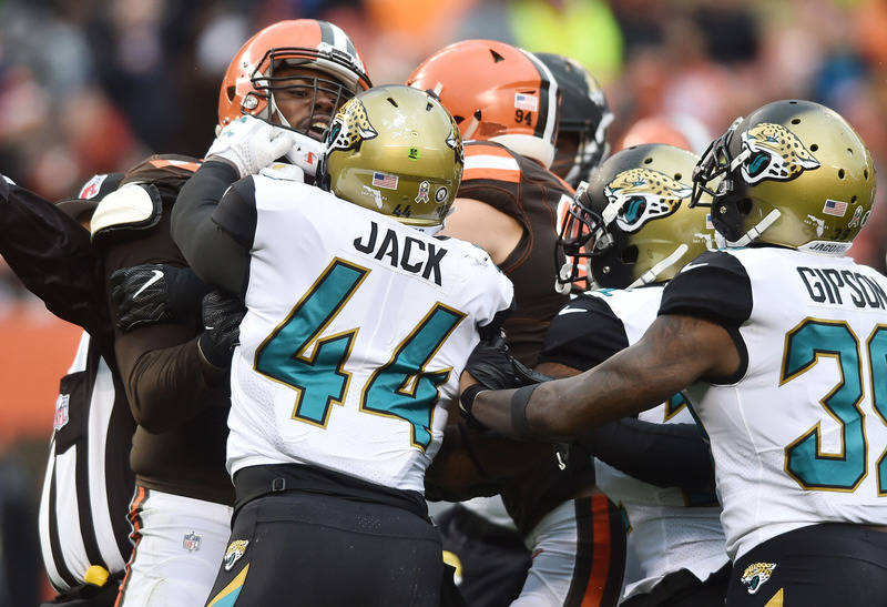 Nov 19, 2017; Cleveland, OH, USA; Jacksonville Jaguars outside linebacker Myles Jack (44) and Cleveland Browns offensive tackle Shon Coleman (72) scuffle after a play during the first half at Firs ...