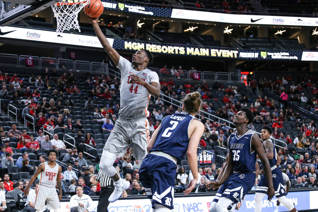 UNLV Rebels forward Brandon McCoy (44) jumps as he shoots the ball during the first half of basketball game against the Rice Owls during day one of the MGM Grand Main Event tournament at T-Mobile  ...