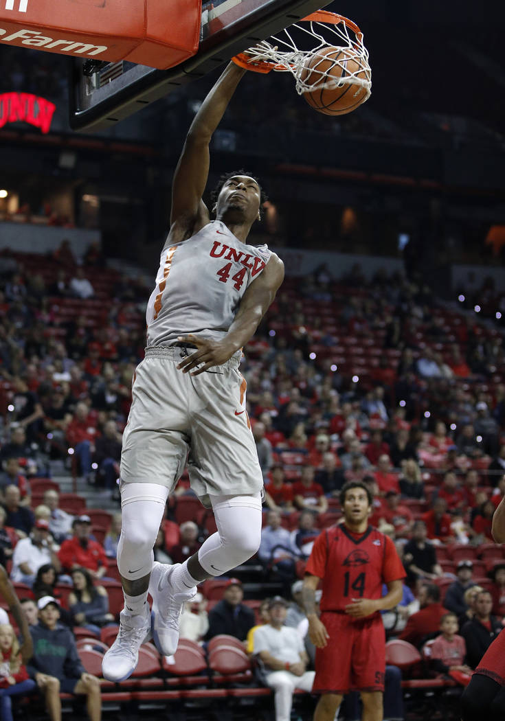 UNLV's Brandon McCoy dunks against Southern Utah during the first half of an NCAA college basketball game Saturday, Nov. 25, 2017, in Las Vegas. (AP Photo/John Locher)