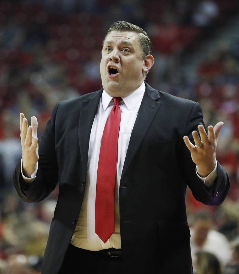 Southern Utah head coach Todd Simon reacts during the first half of an NCAA college basketball game  against UNLV, Saturday, Nov. 25, 2017, in Las Vegas. (AP Photo/John Locher)
