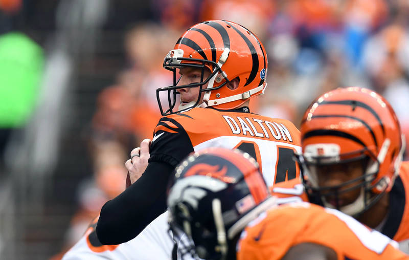 Nov 19, 2017; Denver, CO, USA; Cincinnati Bengals quarterback Andy Dalton (14) prepares to throw a pass in the first quarter against the Denver Broncos at Sports Authority Field at Mile High. Mand ...
