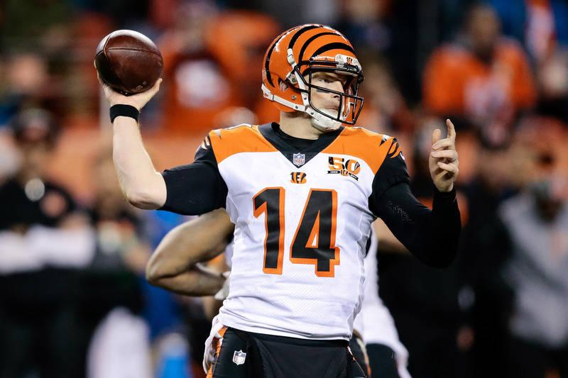 Nov 19, 2017; Denver, CO, USA; Cincinnati Bengals quarterback Andy Dalton (14) passes in the fourth quarter against the Denver Broncos at Sports Authority Field at Mile High. Mandatory Credit: Isa ...