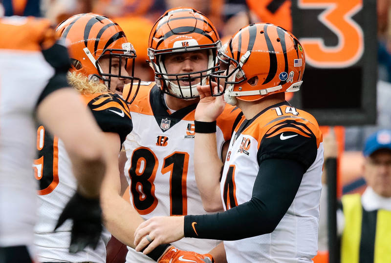 Nov 19, 2017; Denver, CO, USA; Cincinnati Bengals tight end Tyler Kroft (81) celebrates with quarterback Andy Dalton (14) and tight end Ryan Hewitt (89) after a touchdown in the first quarter agai ...