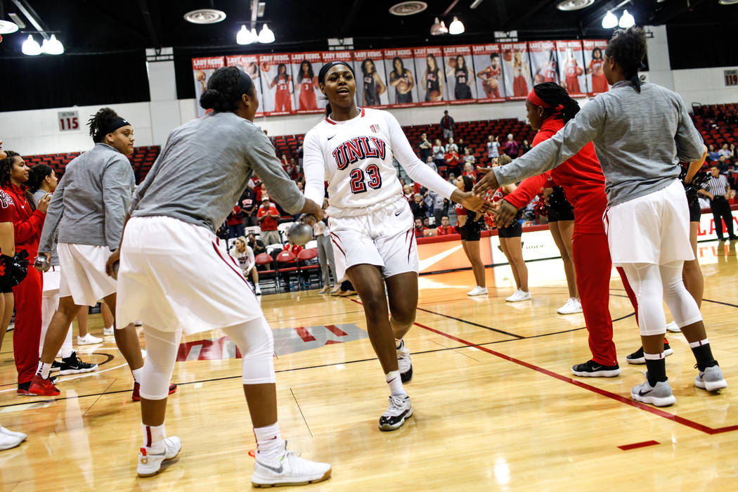 UNLV RebelsՠJordyn Bell (23) runs onto the court at the start of a basketball game against the Grand Canyon Antelopes at Cox Pavilion in Las Vegas, Sunday, Nov. 19, 2017. UNLV Rebels won 76- ...