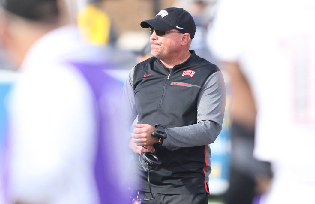 UNLV Rebels football head coach Tony Sanchez on the sideline during the first half of their game against Nevada Wolf Pack in Reno, Saturday, Nov. 25, 2017. Heidi Fang Las Vegas Review-Journal @Hei ...