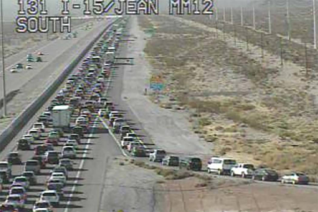 Traffic is moving slowly on southbound Interstate 15 from Las Vegas toward the Nevada-California state line Sunday morning, Nov. 26, 2017. (RTC FAST Cameras)
