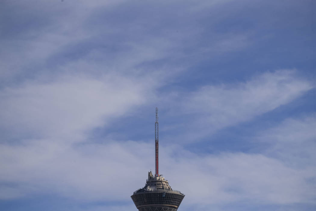 Clouds form above the Stratosphere tower on the Las Vegas Strip, Sunday, Nov. 26, 2017. Richard Brian Las Vegas Review-Journal @vegasphotograph