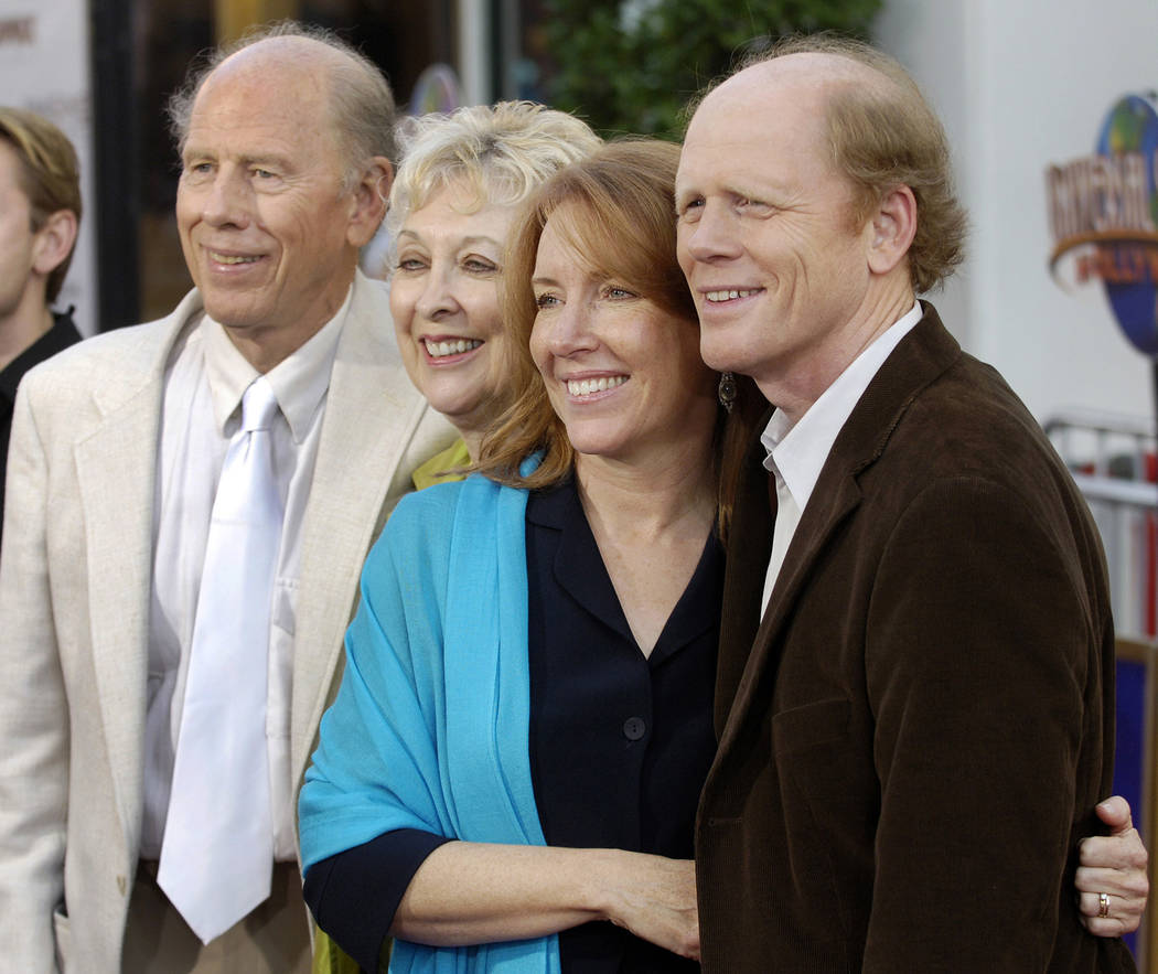 "Ron Howard, far right, director of the new film ""Cinderella Man,"" poses with his wife Cheryl, second from right, and his parents, actor/director Rance Howard and actress Jean Speegle Howard, at th ..."