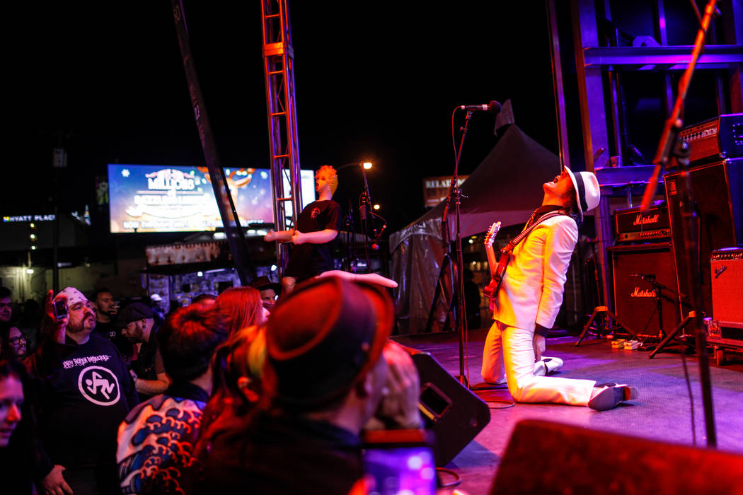 Shaku Keiji of The Heiz, based out of Tokyo, Japan, yells during a performance during the 25th anniversary show at the Double Down Saloon in Las Vegas, Saturday, Nov. 25, 2017. Joel Angel Juarez L ...